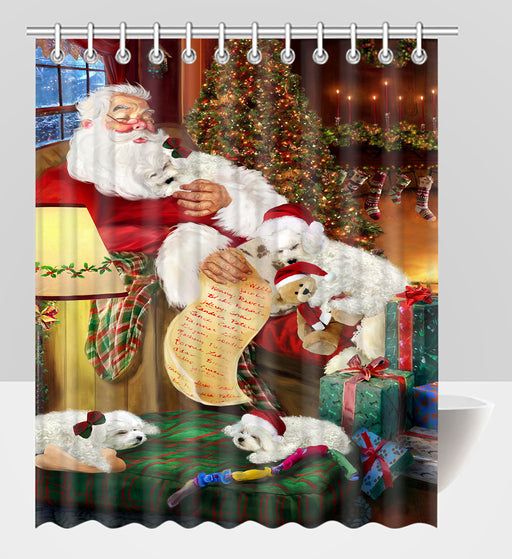 Santa Sleeping with Bichon Frise Dogs Shower Curtain