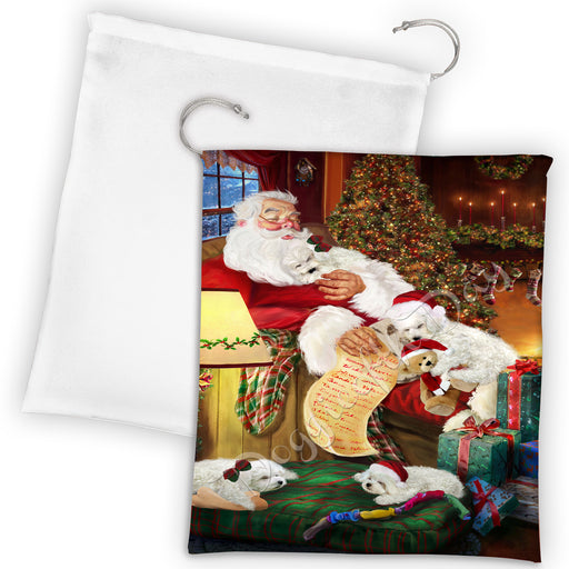 Santa Sleeping with Bichon Frise Dogs Drawstring Laundry or Gift Bag LGB48778