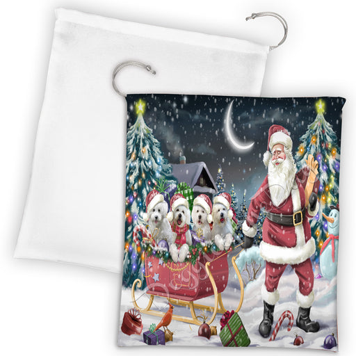 Santa Sled Dogs Christmas Happy Holidays Bichon Frise Dogs Drawstring Laundry or Gift Bag LGB48673