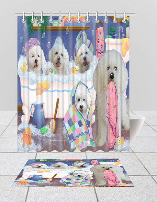 Rub A Dub Dogs In A Tub Bichon Frise Dogs Bath Mat and Shower Curtain Combo