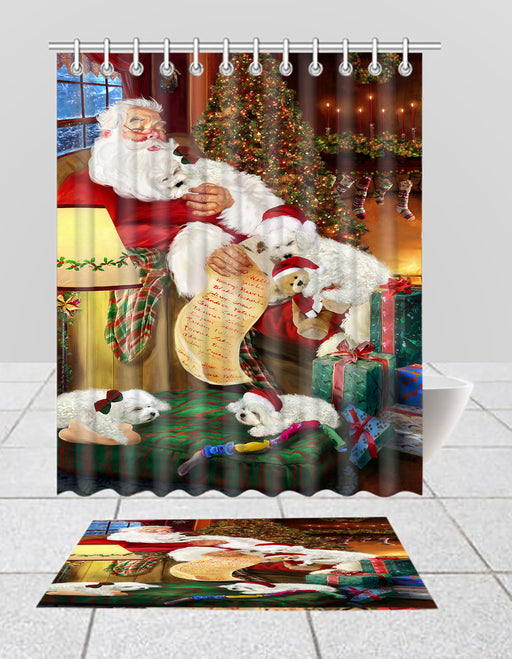 Santa Sleeping with Bichon Frise Dogs  Bath Mat and Shower Curtain Combo