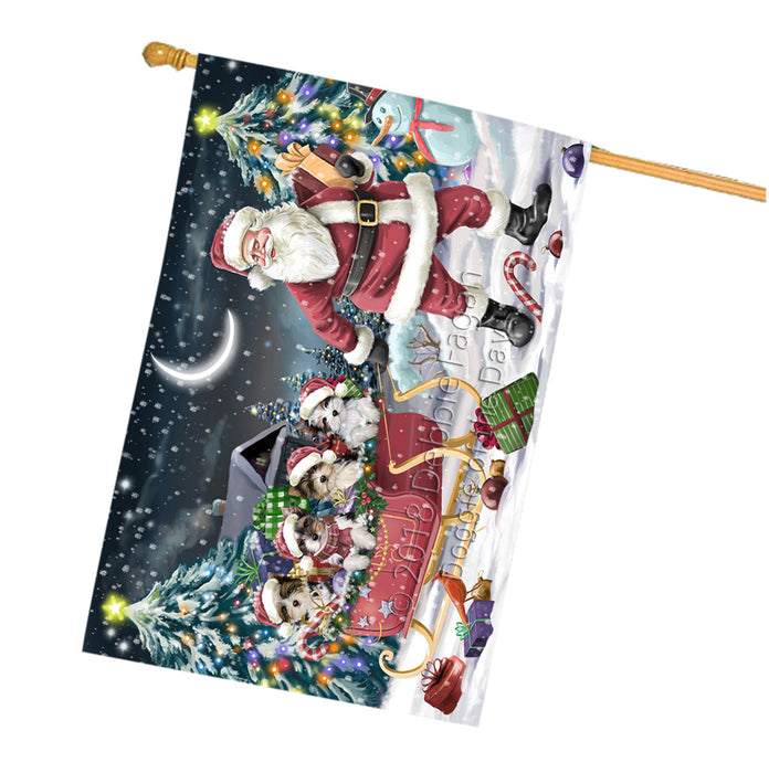 Santa Sled Dogs Christmas Happy Holidays Biewer Terriers Dog House Flag FLG51847
