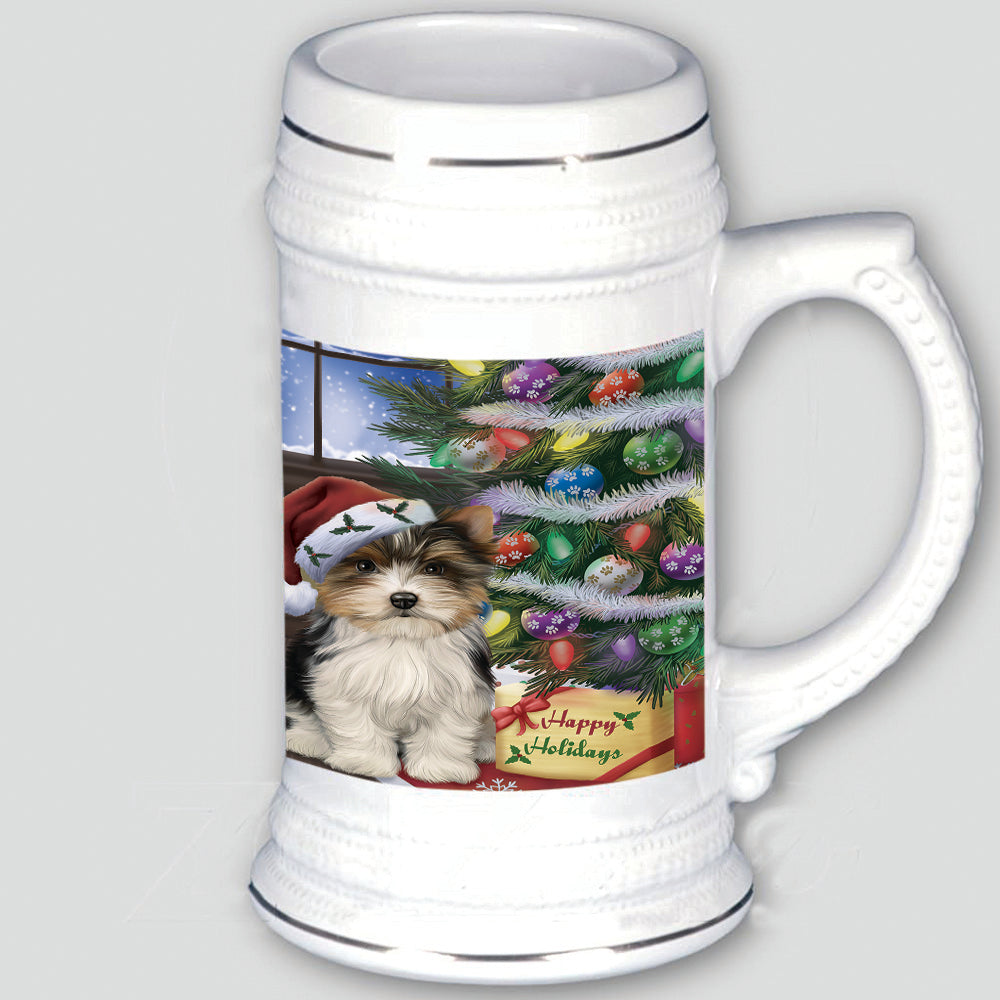 Christmas Happy Holidays Biewer Terrier Dog with Tree and Presents Beer Stein BST54931