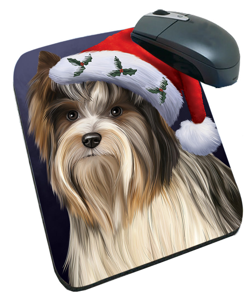Christmas Holidays Biewer Terrier Dog Wearing Santa Hat Portrait Head Mousepad MPD53491