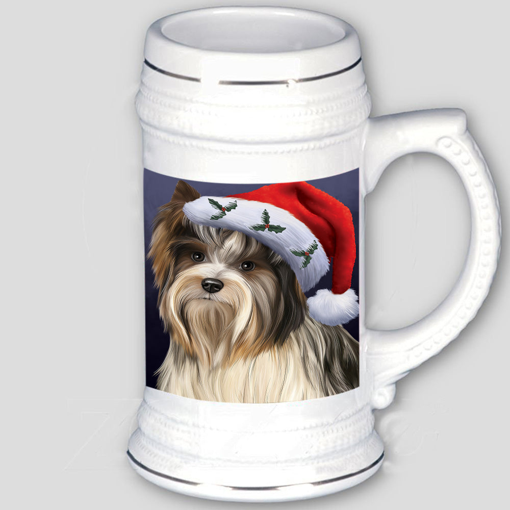 Christmas Holidays Biewer Terrier Dog Wearing Santa Hat Portrait Head Beer Stein BST54979