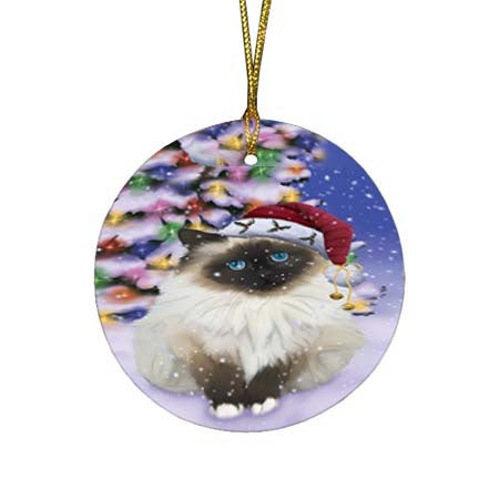 Winterland Wonderland Birman Cat In Christmas Holiday Scenic Background Round Flat Christmas Ornament RFPOR56043