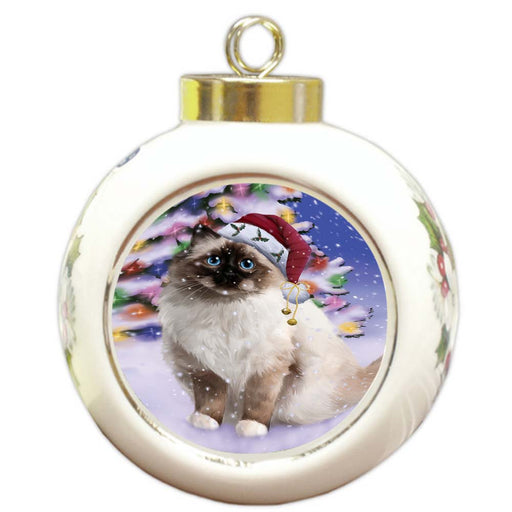 Winterland Wonderland Birman Cat In Christmas Holiday Scenic Background Round Ball Christmas Ornament RBPOR56042