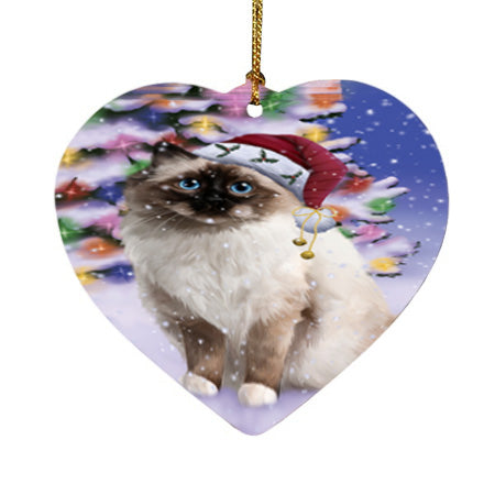 Winterland Wonderland Birman Cat In Christmas Holiday Scenic Background Heart Christmas Ornament HPOR56042
