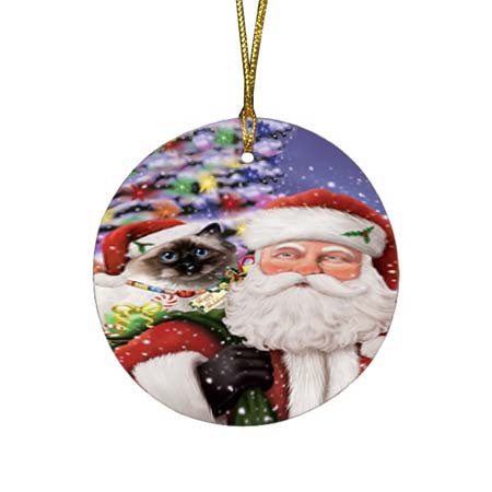 Santa Carrying Birman Cat and Christmas Presents Round Flat Christmas Ornament RFPOR55843