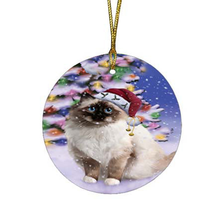 Winterland Wonderland Birman Cat In Christmas Holiday Scenic Background Round Flat Christmas Ornament RFPOR56042