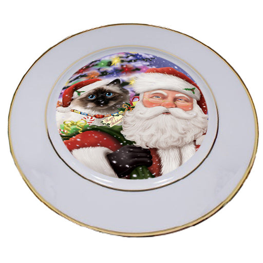 Santa Carrying Birman Cat and Christmas Presents Porcelain Plate PLT53836