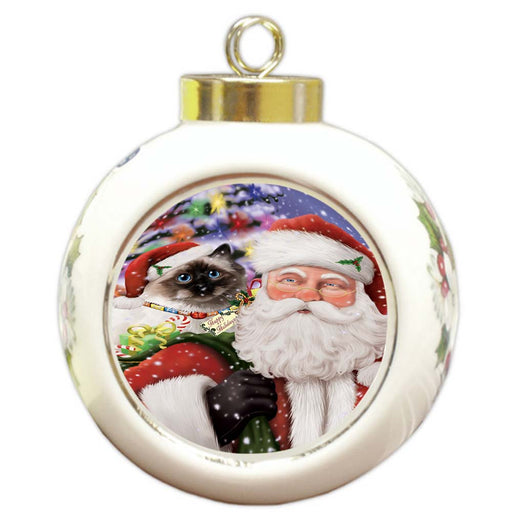 Santa Carrying Birman Cat and Christmas Presents Round Ball Christmas Ornament RBPOR55843
