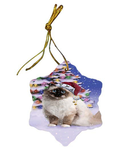 Winterland Wonderland Birman Cat In Christmas Holiday Scenic Background Star Porcelain Ornament SPOR56042