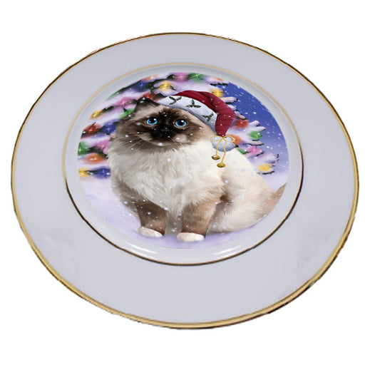 Winterland Wonderland Birman Cat In Christmas Holiday Scenic Background Porcelain Plate PLT54035