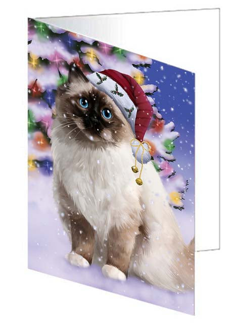 Winterland Wonderland Birman Cat In Christmas Holiday Scenic Background Note Card NCD71573