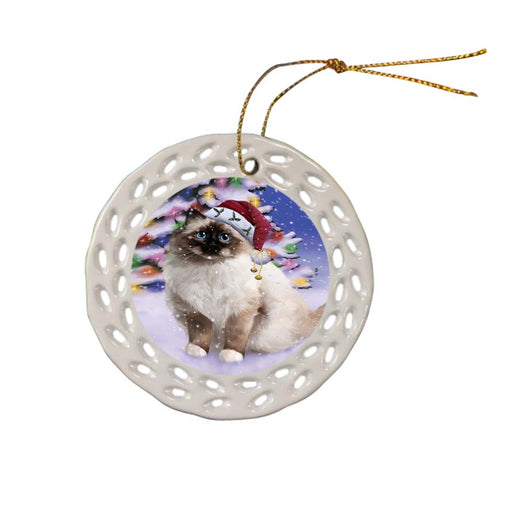 Winterland Wonderland Birman Cat In Christmas Holiday Scenic Background Ceramic Doily Ornament DPOR56042
