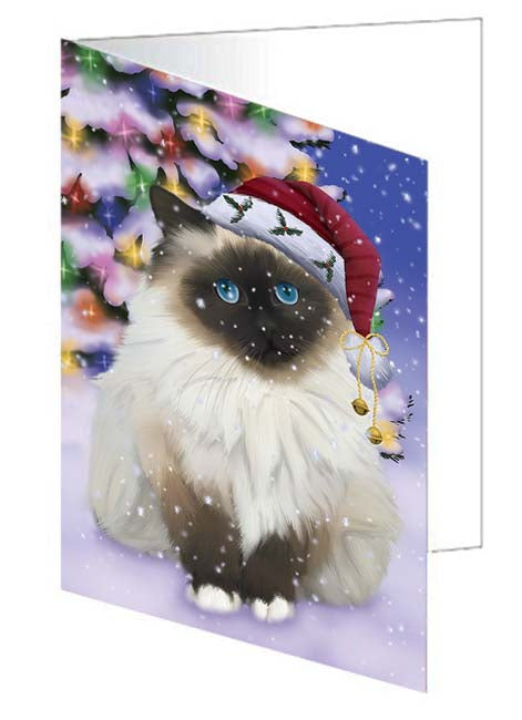 Winterland Wonderland Birman Cat In Christmas Holiday Scenic Background Note Card NCD71576