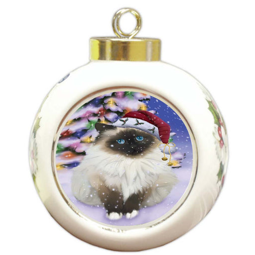 Winterland Wonderland Birman Cat In Christmas Holiday Scenic Background Round Ball Christmas Ornament RBPOR56043