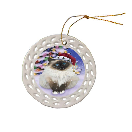 Winterland Wonderland Birman Cat In Christmas Holiday Scenic Background Ceramic Doily Ornament DPOR56043