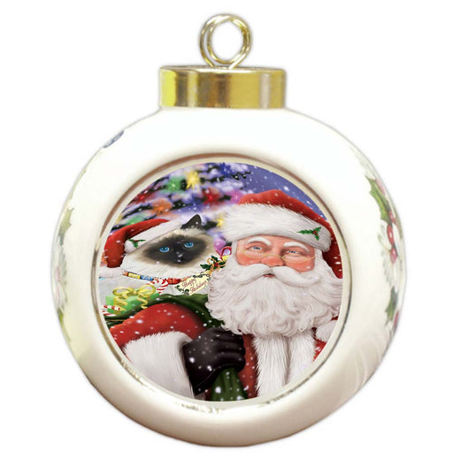 Santa Carrying Birman Cat and Christmas Presents Round Ball Christmas Ornament RBPOR55844