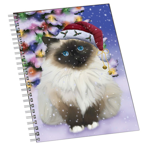 Winterland Wonderland Birman Cat In Christmas Holiday Scenic Background Notebook NTB54235