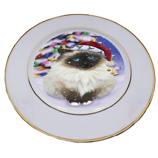 Winterland Wonderland Birman Cat In Christmas Holiday Scenic Background Porcelain Plate PLT54036
