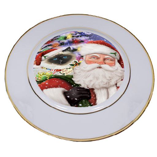 Santa Carrying Birman Cat and Christmas Presents Porcelain Plate PLT53837