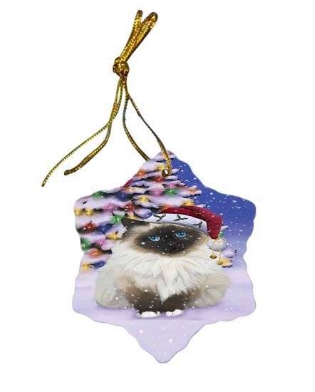 Winterland Wonderland Birman Cat In Christmas Holiday Scenic Background Star Porcelain Ornament SPOR56043