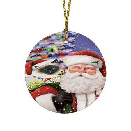 Santa Carrying Birman Cat and Christmas Presents Round Flat Christmas Ornament RFPOR55844