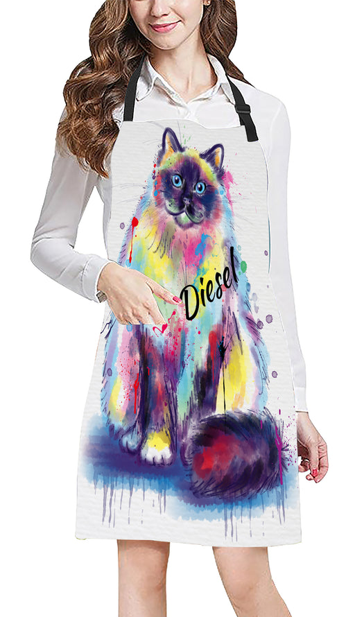 Custom Pet Name Personalized Watercolor Birman Cat Apron