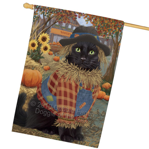 Halloween Round Town And Fall Pumpking Scarecrow Both Black Cats Garden Flag GFLG65636