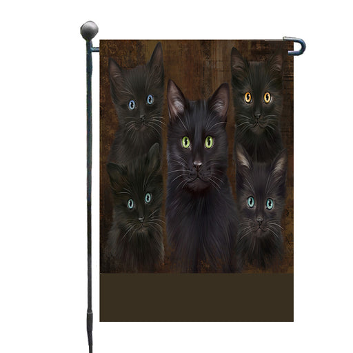 Personalized Rustic 5 Black Cats Custom Garden Flags GFLG-DOTD-A62550