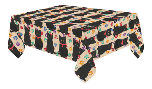 Rainbow Paw Print Black Cats Red Cotton Linen Tablecloth