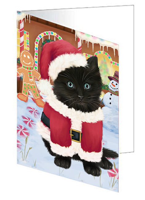 Christmas Gingerbread House Candyfest Black Cat Note Card NCD73088