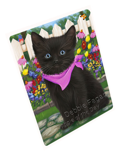 Spring Floral Black Cat Large Refrigerator / Dishwasher Magnet RMAG73626