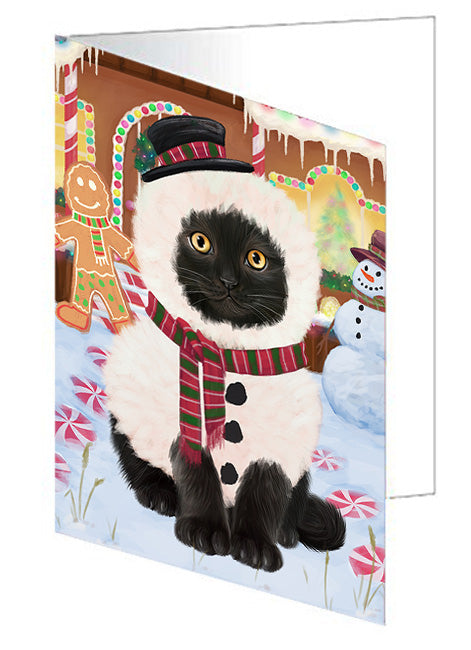 Christmas Gingerbread House Candyfest Black Cat Note Card NCD73091