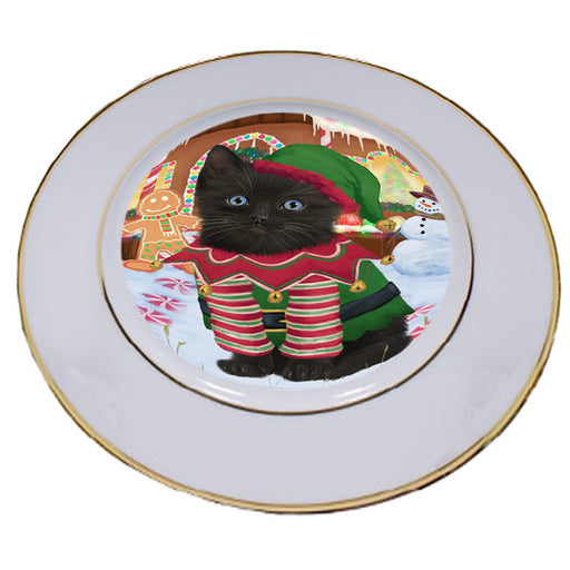 Christmas Gingerbread House Candyfest Black Cat Porcelain Plate PLT54542