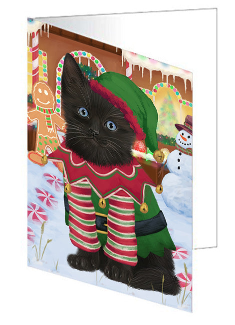 Christmas Gingerbread House Candyfest Black Cat Note Card NCD73094