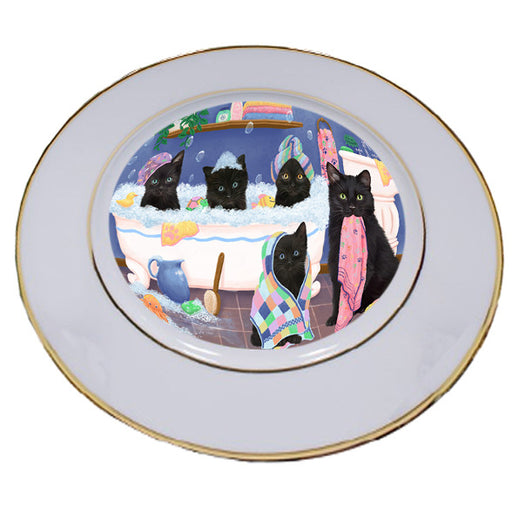 Rub A Dub Dogs In A Tub Black Cats Porcelain Plate PLT55116