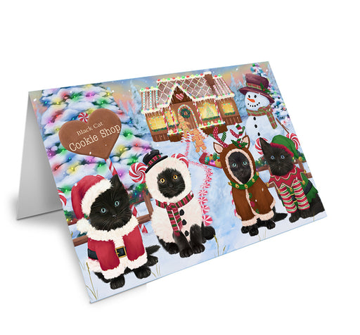 Holiday Gingerbread Cookie Shop Black Cats Note Card NCD72842