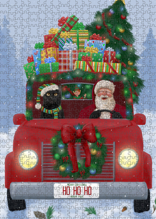 Christmas Honk Honk Red Truck Here Comes with Santa and Black Cat Puzzle with Photo Tin PUZL99932