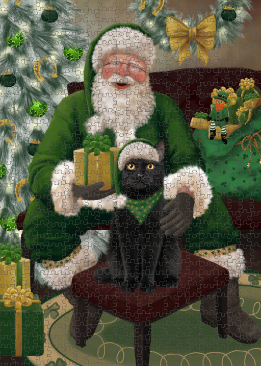 Christmas Irish Santa with Gift and Black Cat Puzzle with Photo Tin PUZL100324