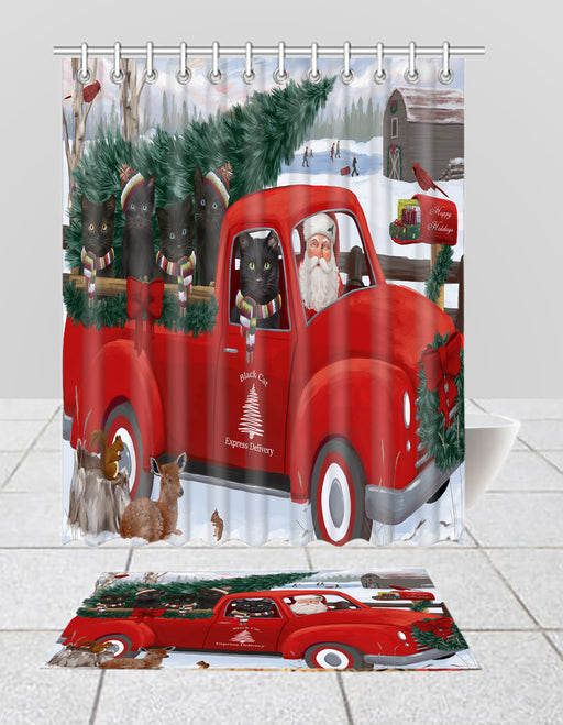 Christmas Santa Express Delivery Red Truck Black Cats Bath Mat and Shower Curtain Combo