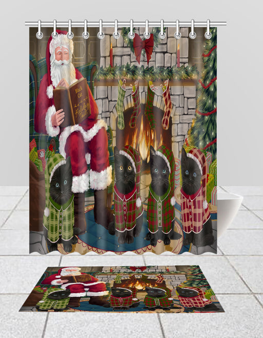 Christmas Cozy Holiday Fire Tails Black Cats Bath Mat and Shower Curtain Combo