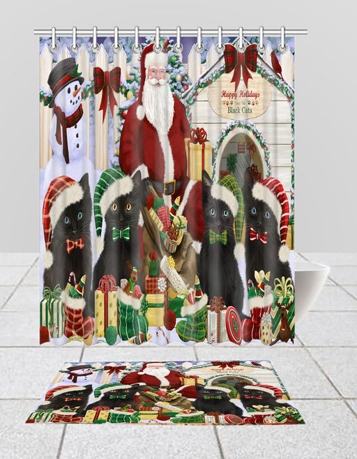 Happy Holidays Christmas Black Cats House Gathering Bath Mat and Shower Curtain Combo