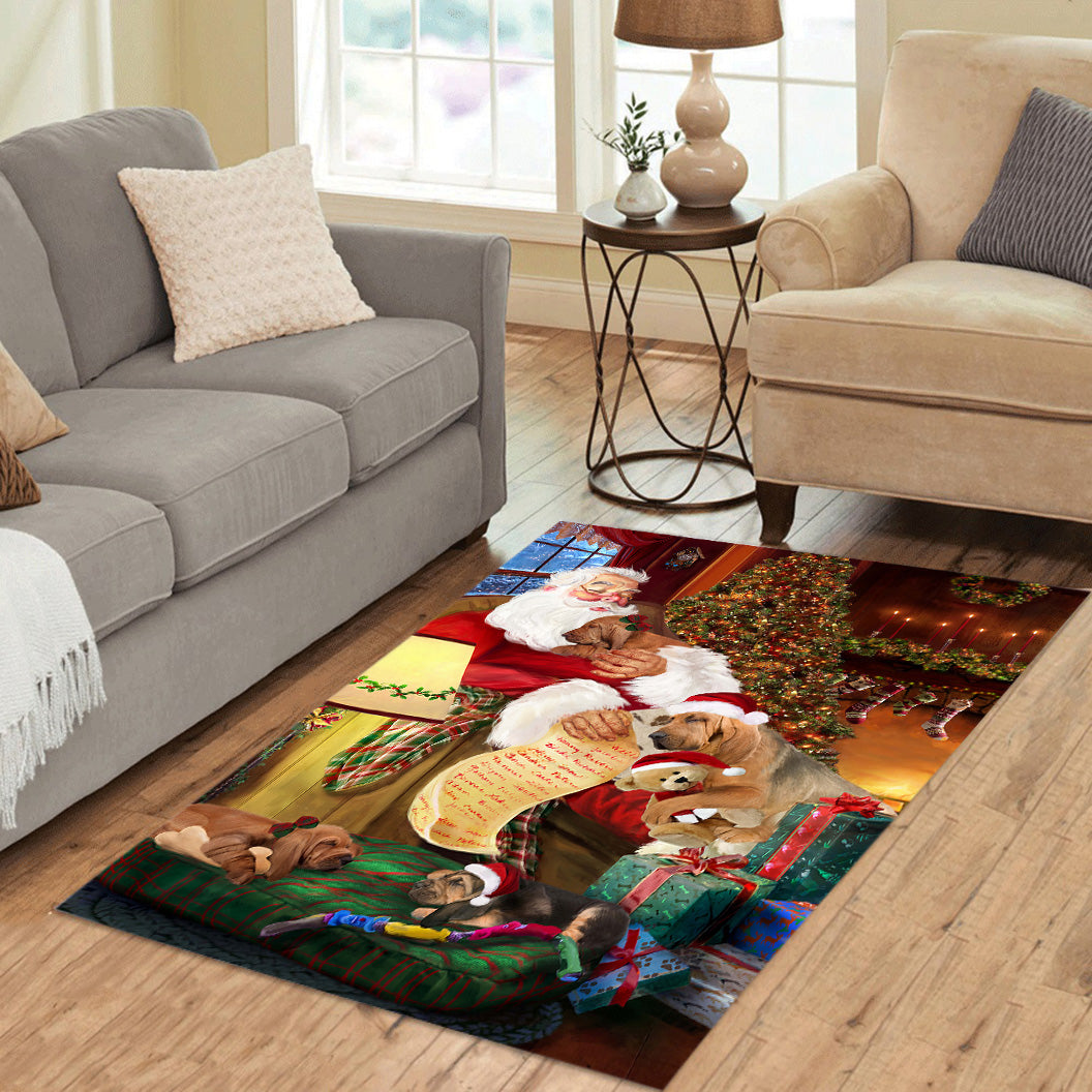 Santa Sleeping with Bloodhound Dogs Area Rug