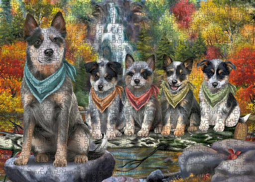 Scenic Waterfall Blue Heelers Dog Puzzle with Photo Tin PUZL59577
