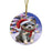 Winterland Wonderland Blue Heeler Dog In Christmas Holiday Scenic Background Round Flat Christmas Ornament RFPOR53733