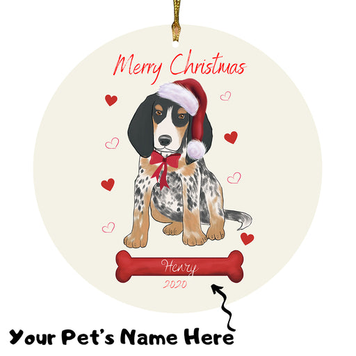 Personalized Merry Christmas  Bluetick Coonhound Dog Christmas Tree Round Flat Ornament RBPOR58922