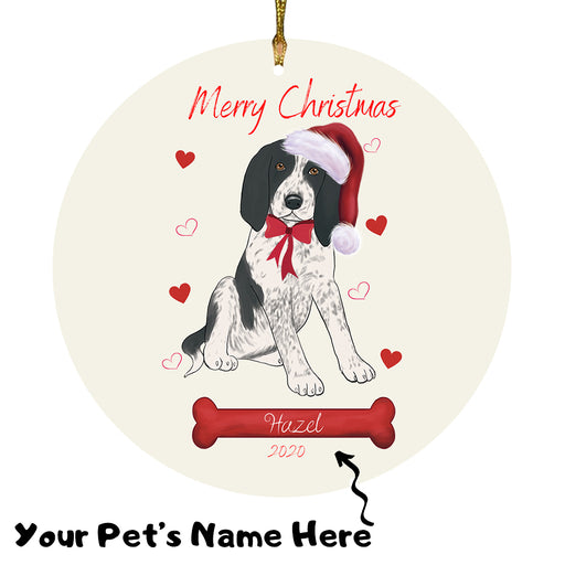Personalized Merry Christmas  Bluetick Coonhound Dog Christmas Tree Round Flat Ornament RBPOR58923